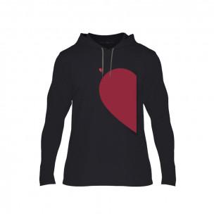 Hanorac pentru barbati Half Heart negru, Mărime M