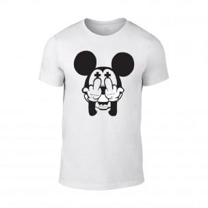 Tricou pentru barbati Mickey alb TEEMAN