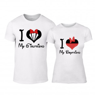 Tricouri pentru cupluri Mickey Minnie alb TEEMAN