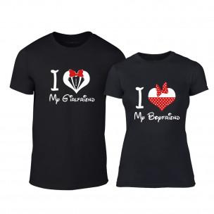 Tricouri pentru cupluri Mickey Minnie negru TEEMAN