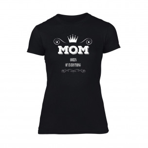 Tricou de dama Mom Queen Of Everything negru TEEMAN