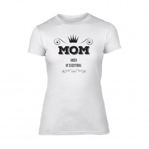 Tricou de dama Mom Queen Of Everything alb