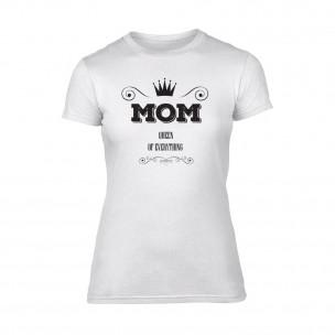 Tricou de dama Mom Queen Of Everything alb TEEMAN