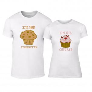 Tricouri pentru cupluri Muffin Cupcake alb