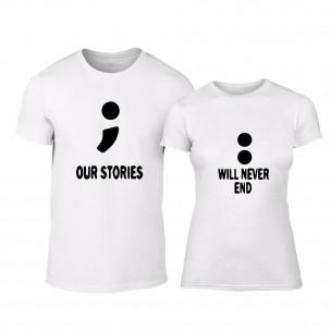 Tricouri pentru cupluri Our Stories alb TEEMAN