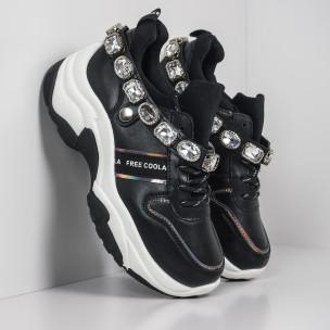 Pantofi sport de dama negri cu pietre