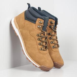 Pantofi de bărbați tip Hiker camel cu accent