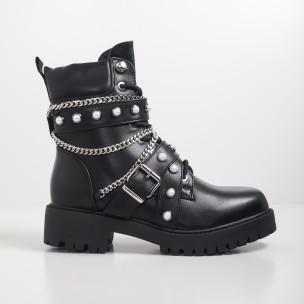 Botine de dama negre cu perle în stil Rock