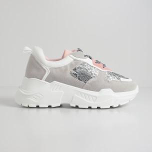 Pantofi sport ușori pentru dama gri și roz motiv Snake 2