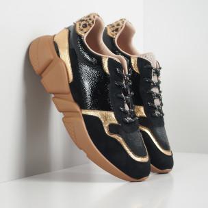 Pantofi sport ușori de dama în negru și auriu