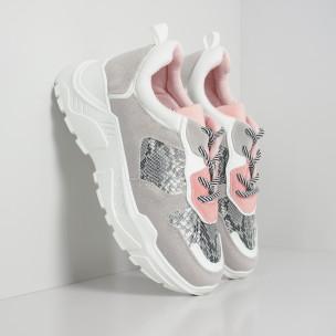 Pantofi sport ușori pentru dama gri și roz motiv Snake