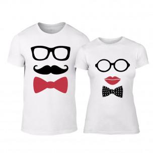 Tricouri pentru cupluri Hipster Parts alb