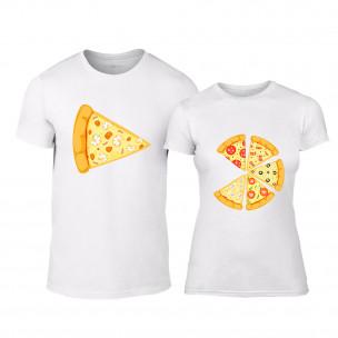 Tricouri pentru cupluri Pizza alb TEEMAN