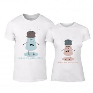 Tricouri pentru cupluri Salt and Pepper alb TEEMAN