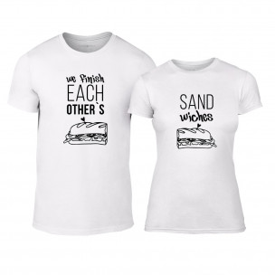 Tricouri pentru cupluri Sandwiches alb