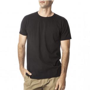 Tricou Basic de bărbați negru din bumbac