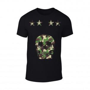 Tricou pentru barbati Military Skull negru TEEMAN