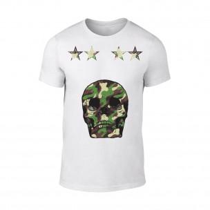 Tricou pentru barbati Military Skull alb TEEMAN