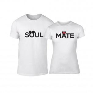 Tricouri pentru cupluri Soulmate alb TEEMAN
