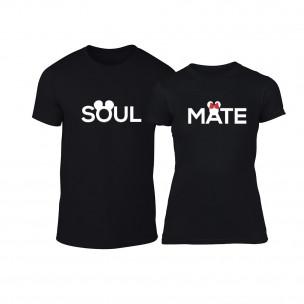 Tricouri pentru cupluri Soulmate negru TEEMAN