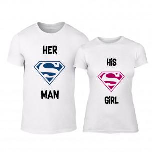 Tricouri pentru cupluri Superman Supergirl alb TEEMAN