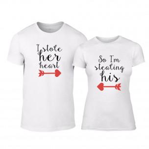 Tricouri pentru cupluri Stolen Hearts alb TEEMAN