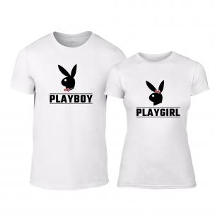 Tricouri pentru cupluri Playboy alb 2