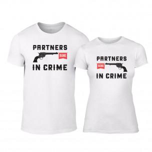 Tricouri pentru cupluri Partners in Crime alb TEEMAN