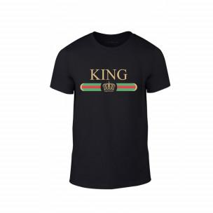 Tricou pentru barbati Fashion King Queen negru, mărimea L