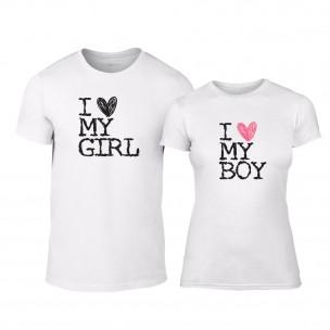 Tricouri pentru cupluri Love My Girl Love My Boy alb
