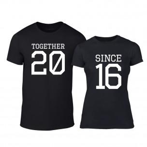 Tricouri pentru cupluri Together Since 2016 negru