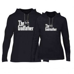 Hanorace pentru cupluri Godfather & Godmother negru