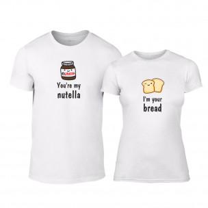 Tricouri pentru cupluri Nutella & Bread alb TEEMAN