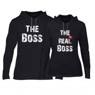 Hanorace pentru cupluri The Boss The Real Boss negru