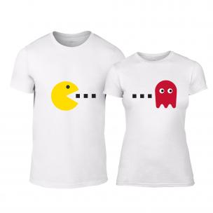 Tricouri pentru cupluri PacMan alb