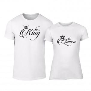 Tricouri pentru cupluri King & Queen alb TEEMAN
