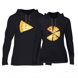 Hanorace pentru cupluri Pizza negru