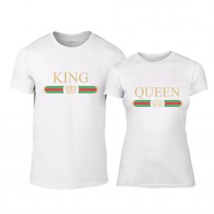 Tricouri pentru cupluri Fashion King Queen alb