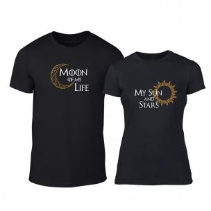 Tricouri pentru cupluri Sun & Moon negru