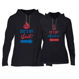 Hanorace pentru cupluri Sail Anchor negru