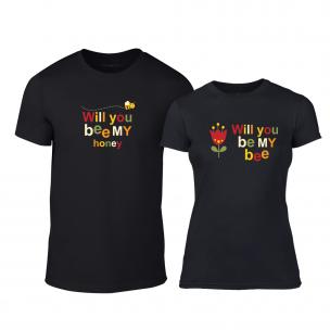 Tricouri pentru cupluri Bee & Honey negru