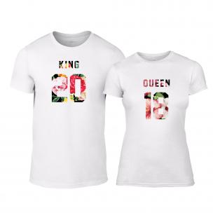 Tricouri pentru cupluri King & Queen 2018 alb