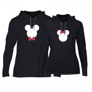 Hanorace pentru cupluri Mickey & Minnie negru
