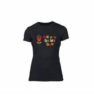 Tricou de dama Bee & Honey negru, mărimea S