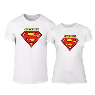 Tricouri pentru cupluri Superman & Supergirl alb