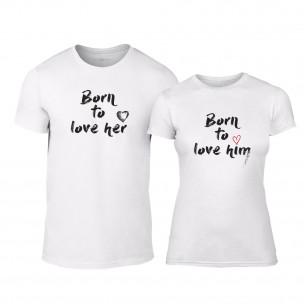 Tricouri pentru cupluri Born To Love alb TEEMAN