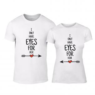 Tricouri pentru cupluri Eyes for You alb