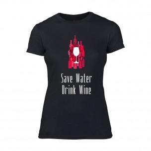 Tricou de dama Save Water Drink Wine negru TEEMAN
