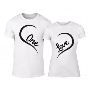 Tricouri pentru cupluri One Love alb