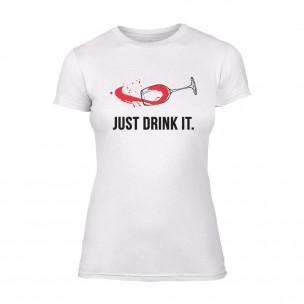 Tricou de dama Just Drink It alb TEEMAN